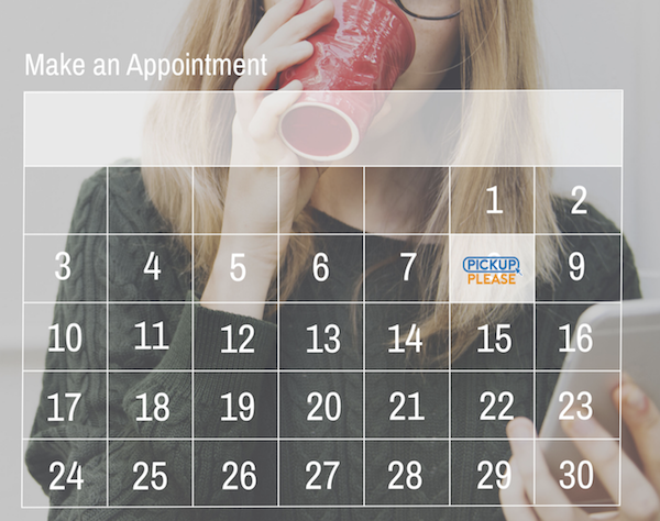 transparent calendar over closeup of woman drinking coffee